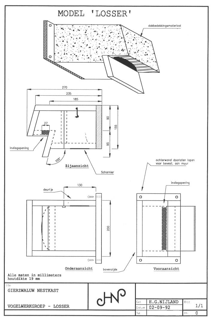 Nestkast Gierzwaluw ModelLosser Werktekening