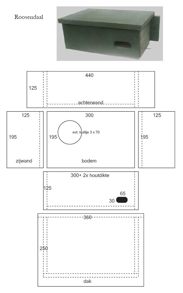 Nestkast Gierzwaluw ModelRoosendaal Werktekening