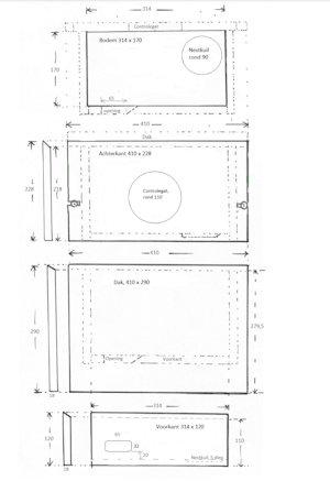 Nestkast Gierzwaluw ModelVoordorp Werktekening 1a klein