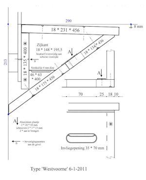 Nestkast Gierzwaluw ModelWestvoorne Werktekening klein